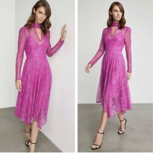BCBGMaxAzria Magenta Lace Cutout Cocktail Dress